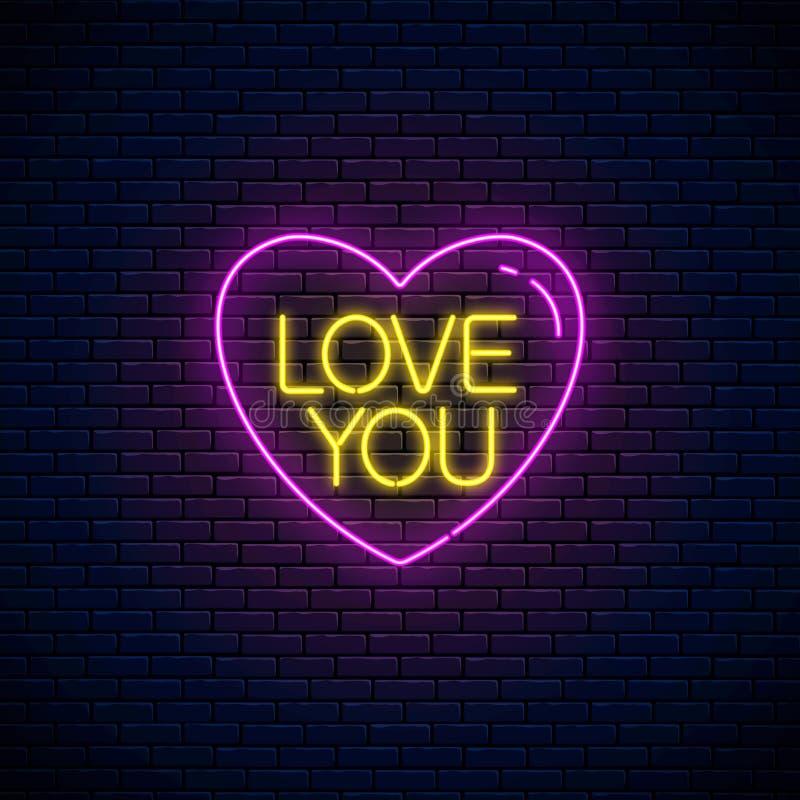 Αγάπη εσείς κείμενο στη μορφή καρδιών στο ύφος νέου Ευτυχές καμμένος εορταστικό σημάδι νέου ημέρας βαλεντίνων τρισδιάστατη αμερικ ελεύθερη απεικόνιση δικαιώματος