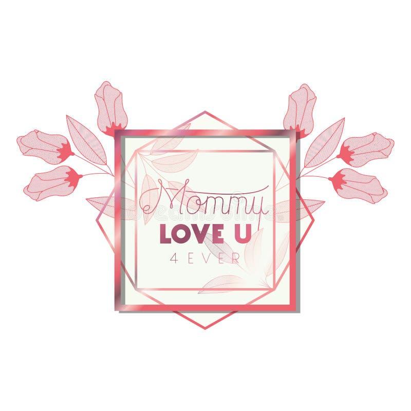 Αγάπη εσείς μαμά με ρόδινο hexagon πλαισίων απεικόνιση αποθεμάτων