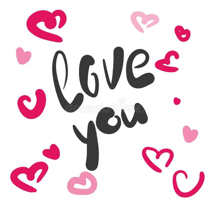 Αγάπη εσείς χειρόγραφη επιγραφή απεικόνιση αποθεμάτων