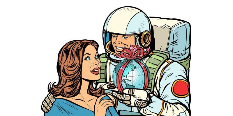 αγάπη ζευγών Ο αστροναύτης δίνει μια γυναίκα που η γη απομονώνει στο άσπρο υπόβαθρο απεικόνιση αποθεμάτων