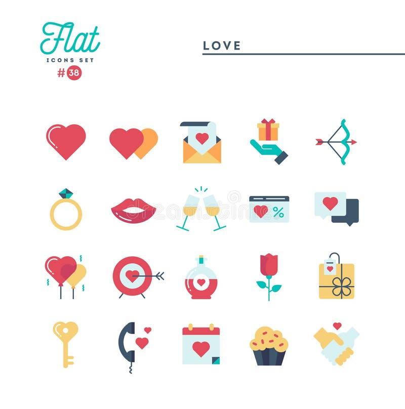 Αγάπη, ημέρα βαλεντίνων ` s, χρονολόγηση, ειδύλλιο και περισσότερο, επίπεδα εικονίδια καθορισμένα διανυσματική απεικόνιση