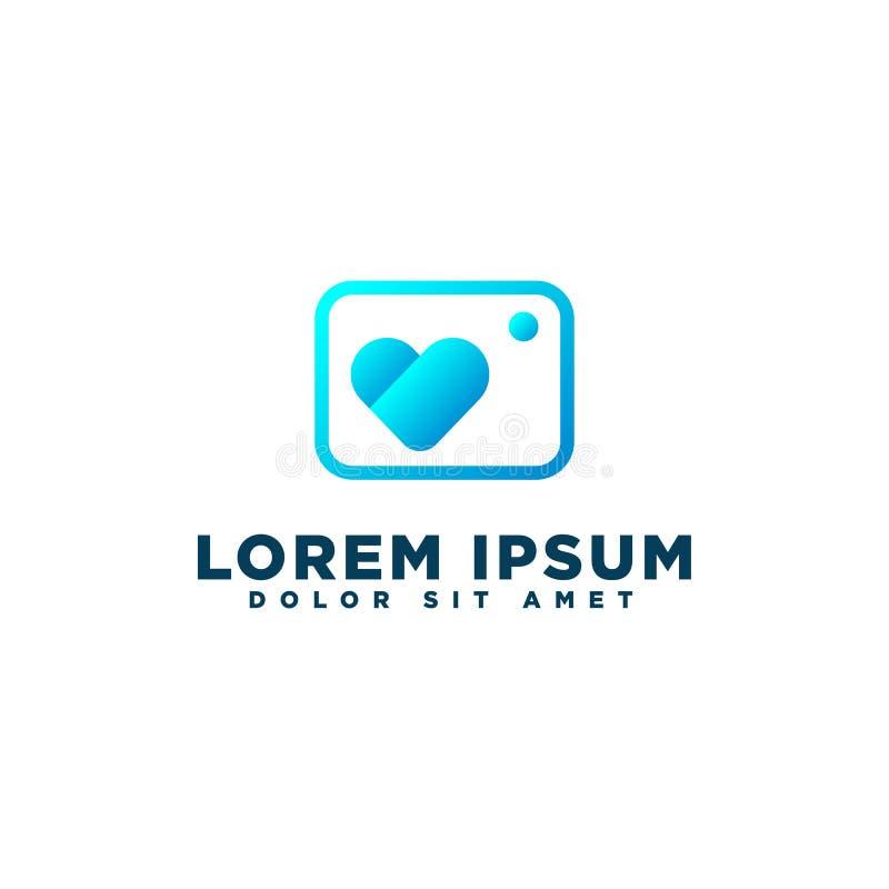 Αγάπη, κάμερα καρδιών ή διάνυσμα προτύπων λογότυπων φωτογραφίας που απομονώνονται ελεύθερη απεικόνιση δικαιώματος