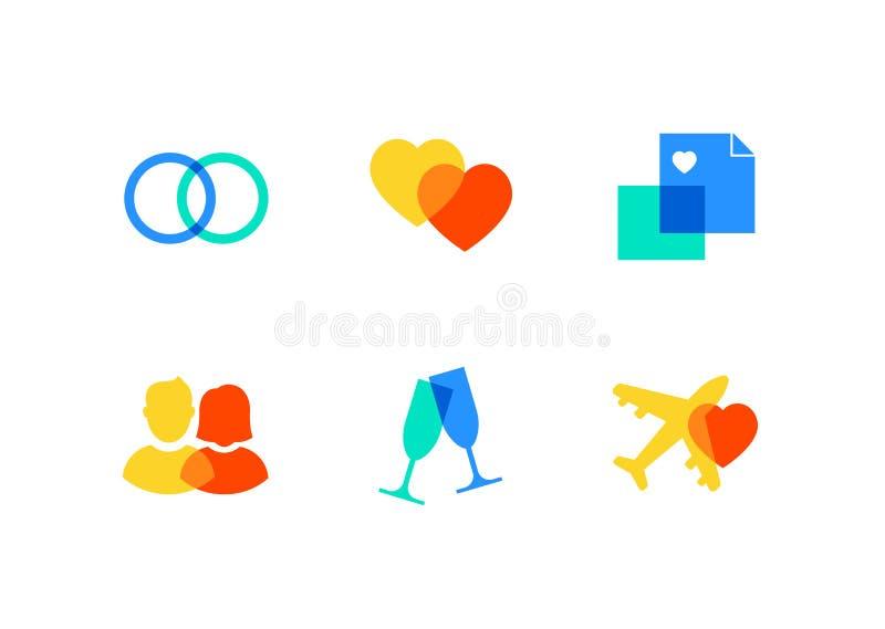 Αγάπη και γάμος - επίπεδα εικονίδια ύφους σχεδίου καθορισμένα ελεύθερη απεικόνιση δικαιώματος