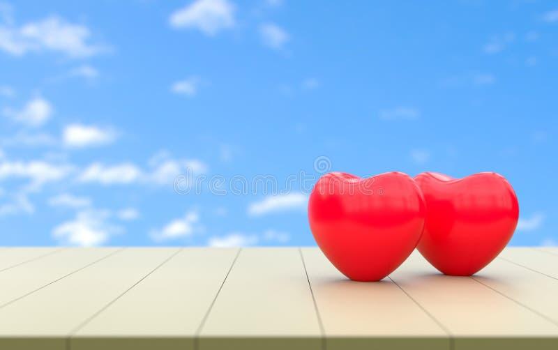Αγάπη και εραστής καρδιών για την τρισδιάστατη απόδοση βαλεντίνων ελεύθερη απεικόνιση δικαιώματος