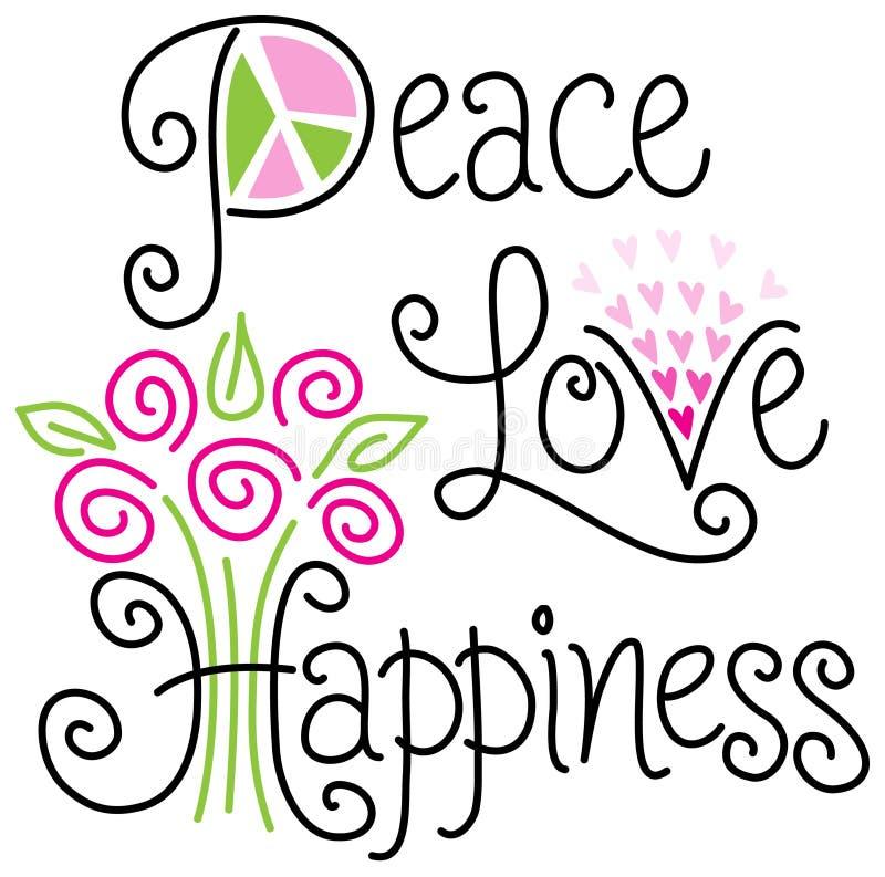 Αγάπη και ευτυχία ειρήνης διανυσματική απεικόνιση