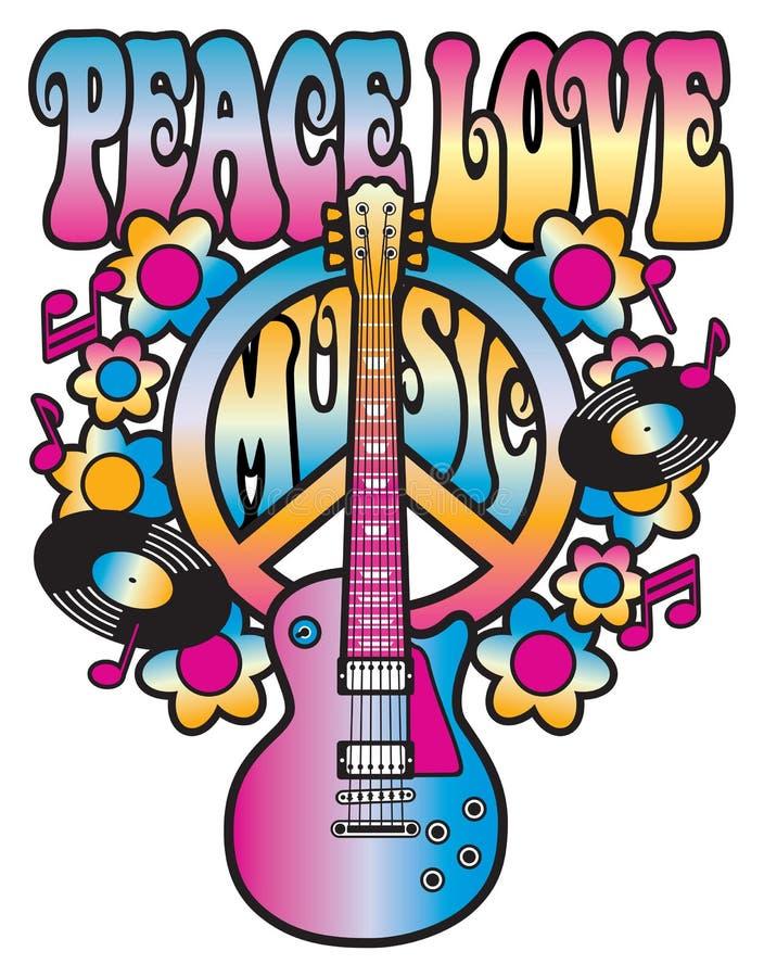 Αγάπη και μουσική ειρήνης ελεύθερη απεικόνιση δικαιώματος