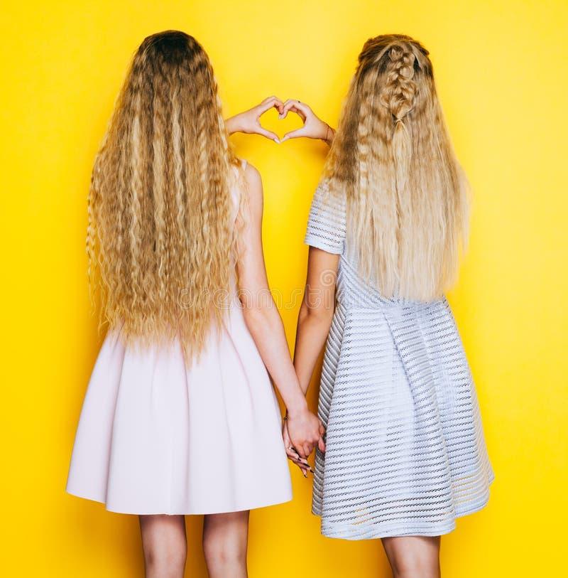 Αγάπη και φιλία για πάντα Δύο φίλες κοριτσιών που στέκονται πίσω και παρουσιάζουν κατασκευή της καρδιάς να υπογράψει στοκ φωτογραφία