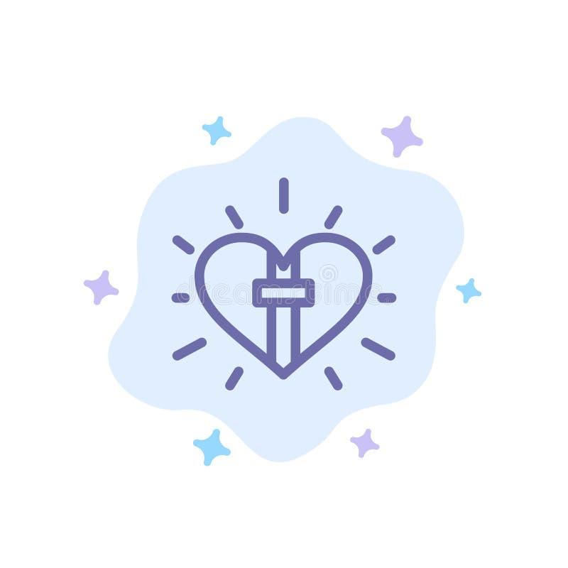 Αγάπη, Καρδιά, Γιορτή, Χριστιανικό, Μπλε Πασχαλινό Εικονίδιο σε αφηρημένο φόντο σύννεφου διανυσματική απεικόνιση