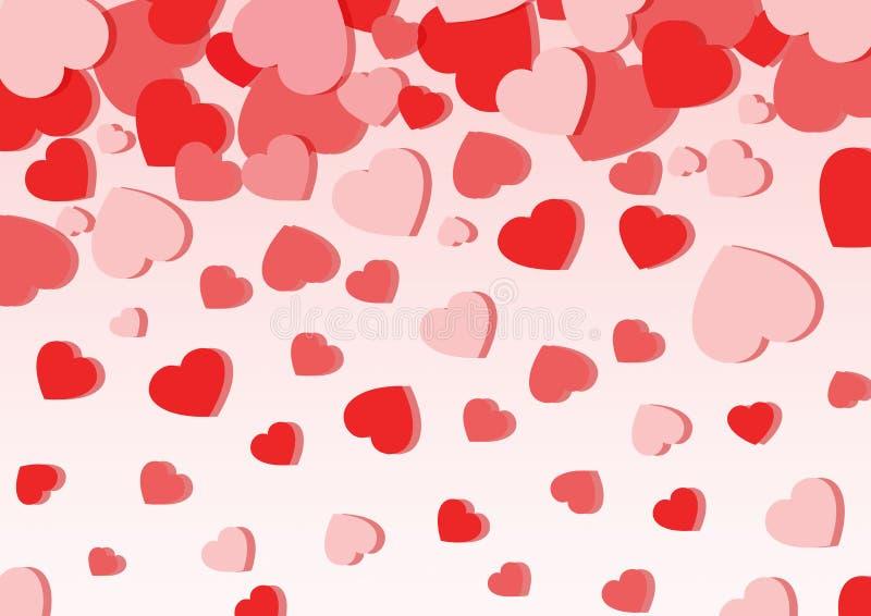 Αγάπη καρδιών στο ρόδινο υπόβαθρο απεικόνιση αποθεμάτων
