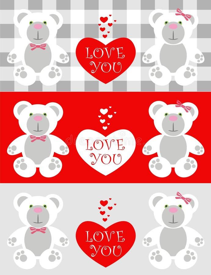 αγάπη καρτών teddy ελεύθερη απεικόνιση δικαιώματος