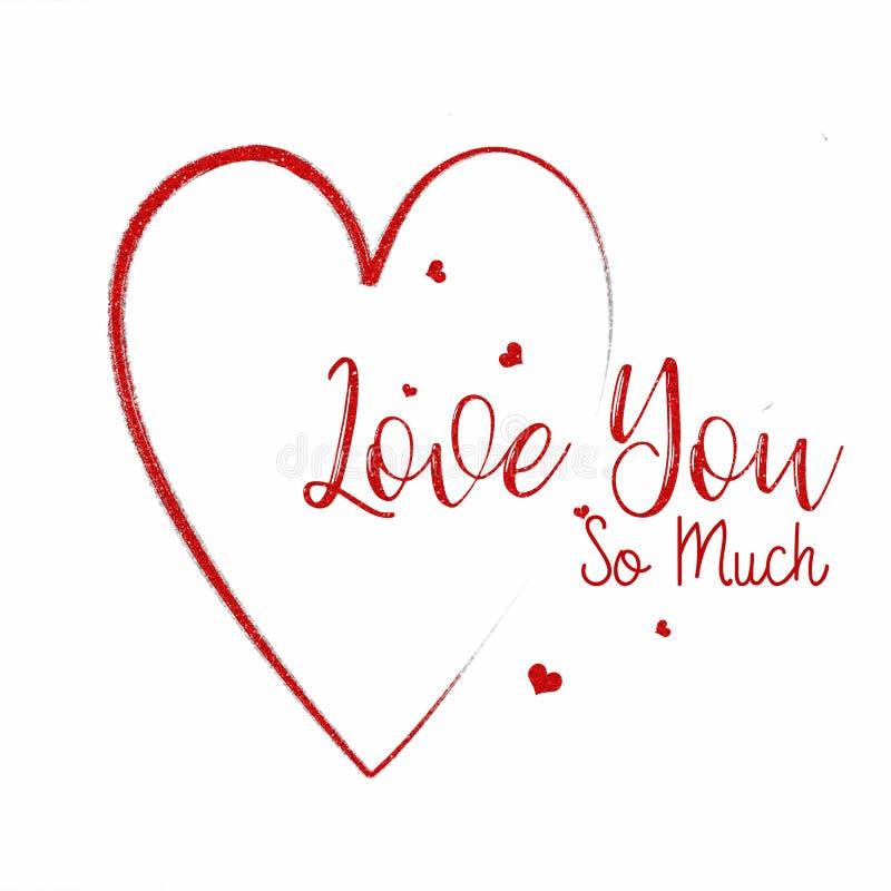 Αγάπη καρδιών εσείς τόσο πολλή κάρτα διανυσματική απεικόνιση