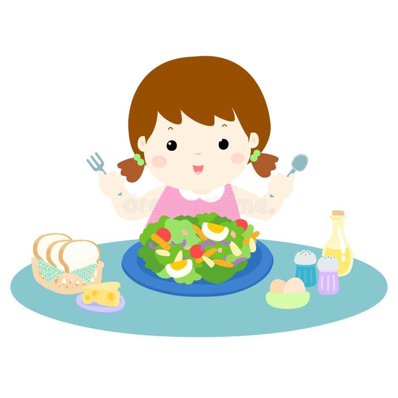Αγάπη κοριτσιών που τρώει την απεικόνιση φρέσκων λαχανικών διανυσματική απεικόνιση