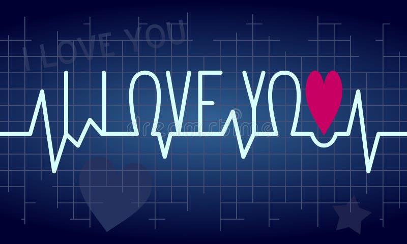 αγάπη κτύπου της καρδιάς α& διανυσματική απεικόνιση