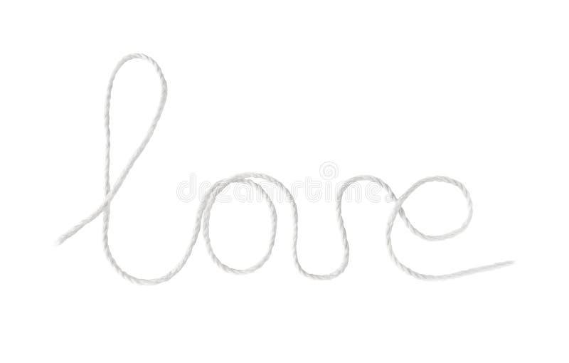 Αγάπη λέξης που γράφεται από το σχοινί, που απομονώνεται σε ένα άσπρο υπόβαθρο στοκ φωτογραφία με δικαίωμα ελεύθερης χρήσης