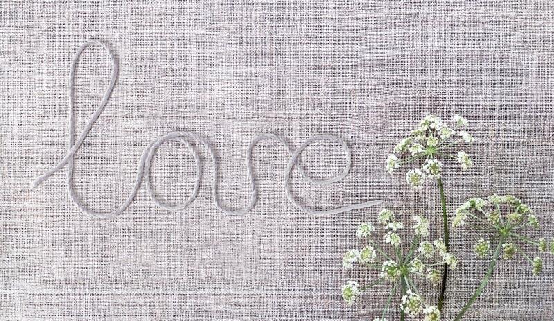 Αγάπη λέξης που γράφεται από το σχοινί στο υπόβαθρο καμβά Ξηρά στοιχεία λουλουδιών με τη σκιά στη σύσταση υφάσματος βαμβακιού στοκ εικόνες