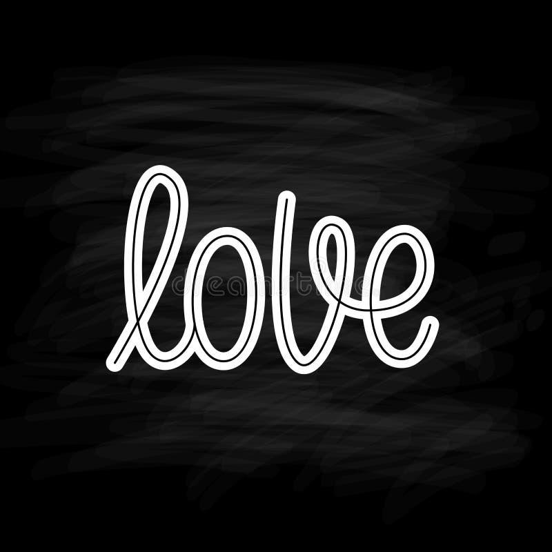 Αγάπη Μεμονωμένη λέξη Σύγχρονο κείμενο καλλιγραφίας monoline Στοιχείο για την ευτυχή ημέρα βαλεντίνων επίσης corel σύρετε το διάν απεικόνιση αποθεμάτων