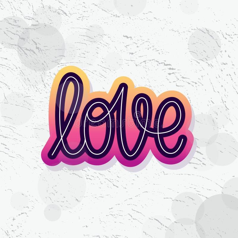 Αγάπη Μεμονωμένη λέξη Σύγχρονο κείμενο καλλιγραφίας monoline Στοιχείο για την ευτυχή ημέρα βαλεντίνων επίσης corel σύρετε το διάν διανυσματική απεικόνιση