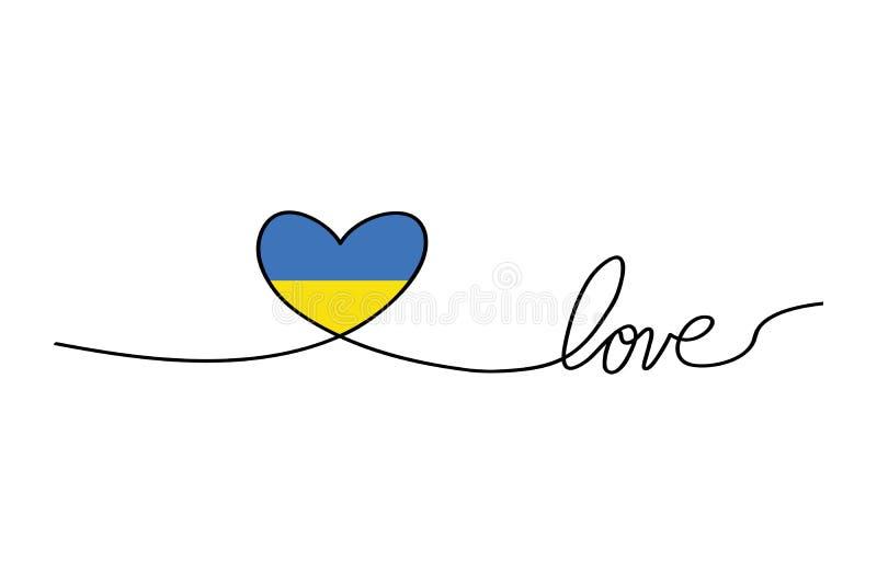 Αγάπη με τις καρδιές στις συνεχείς γραμμές σχεδίων σε ένα επίπεδο ύφος στις συνεχείς γραμμές σχεδίων και την ουκρανική σημαία Συν απεικόνιση αποθεμάτων