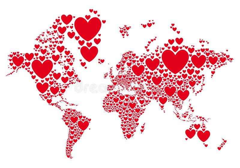 Αγάπη, παγκόσμιος χάρτης με τις κόκκινες καρδιές, διάνυσμα ελεύθερη απεικόνιση δικαιώματος