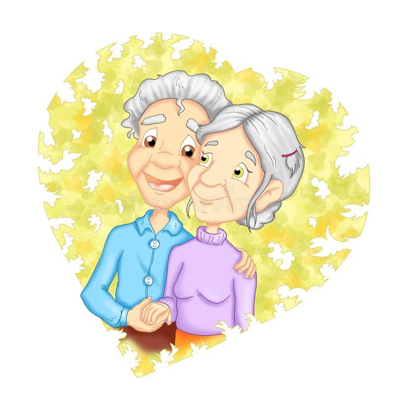 αγάπη παππούδων και γιαγιά&d απεικόνιση αποθεμάτων