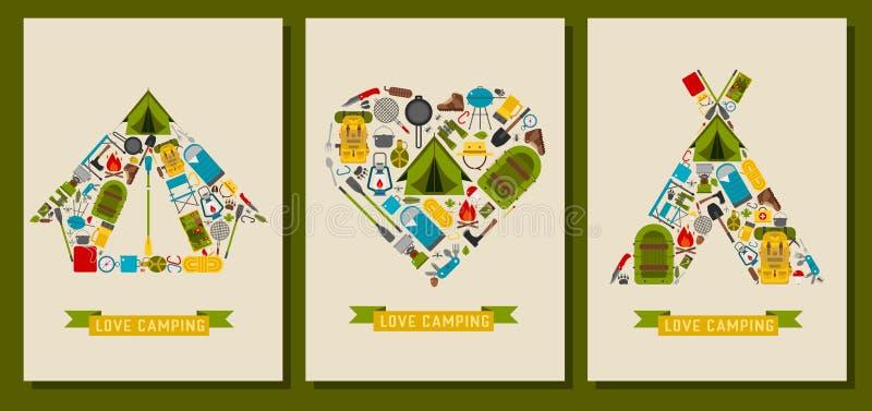 Αγάπη που και κάρτες στρατοπέδευσης τυπωμένες ύλες και απεικόνιση αποθεμάτων