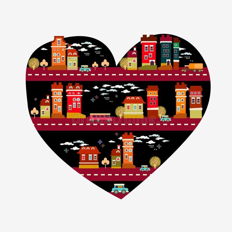 Αγάπη πόλεων - μορφή καρδιών με πολλά εικονίδια απεικόνιση αποθεμάτων