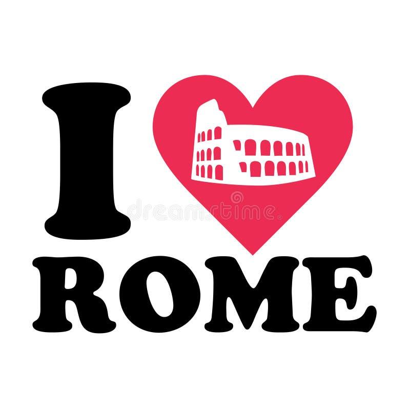αγάπη Ρώμη λογότυπων coliseum διανυσματική απεικόνιση