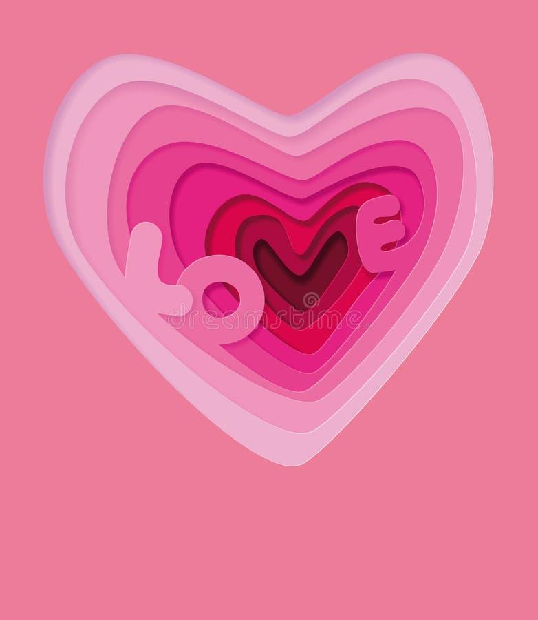 Αγάπη στην καρδιά - πρότυπο απεικόνισης Γαμήλια σύμβολα αγάπης για μια κάρτα, πρόσκληση Ογκομετρική τρισδιάστατη καρδιά βαλεντίνο διανυσματική απεικόνιση