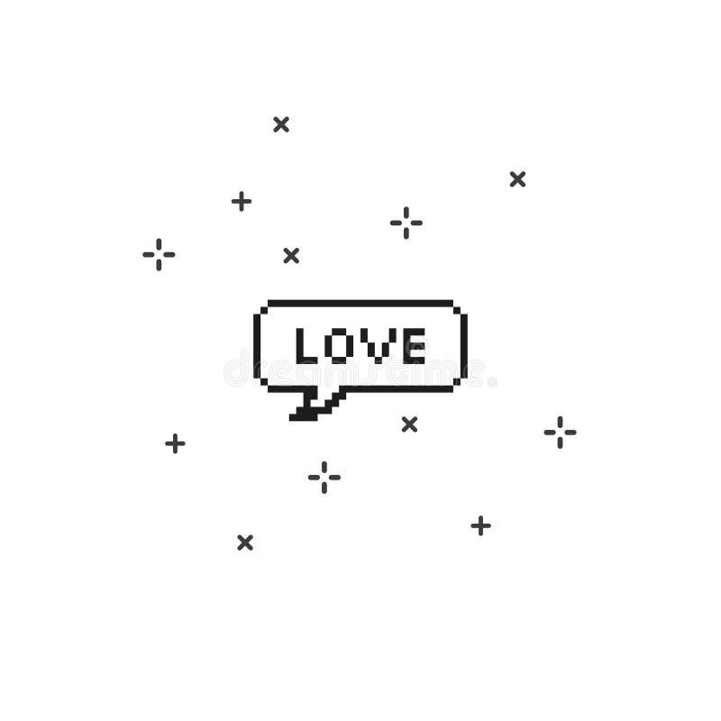 Αγάπη στην οκτάμπιτη τέχνη εικονοκυττάρου λεκτικών φυσαλίδων ελεύθερη απεικόνιση δικαιώματος