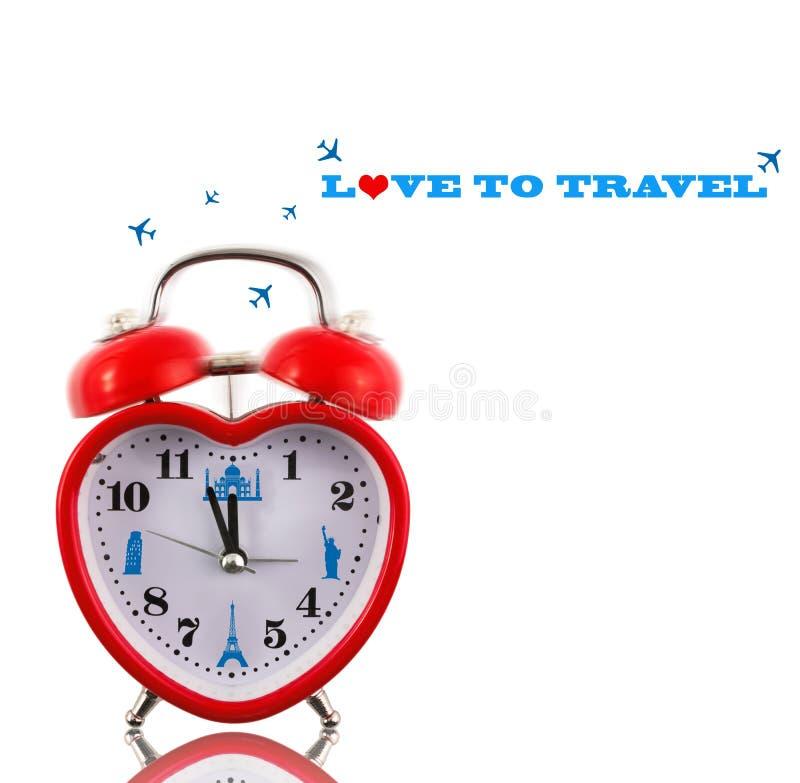 Αγάπη στο ταξίδι! Ρολόι καρδιών στοκ εικόνα
