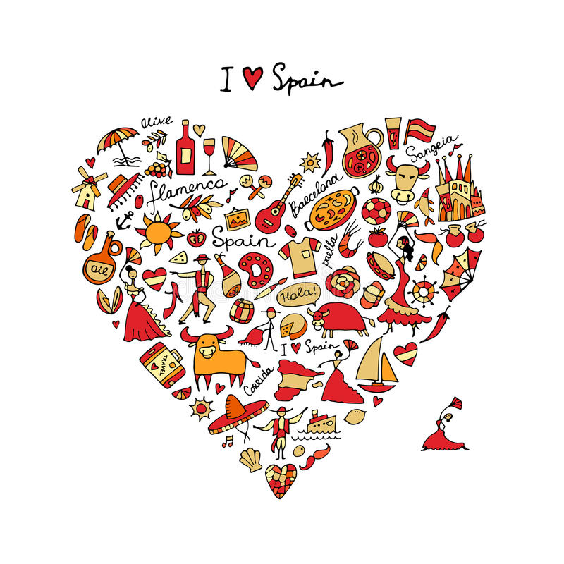 Αγάπη της Ισπανίας, μορφή καρδιών τέχνης Σκίτσο για το σχέδιό σας ελεύθερη απεικόνιση δικαιώματος