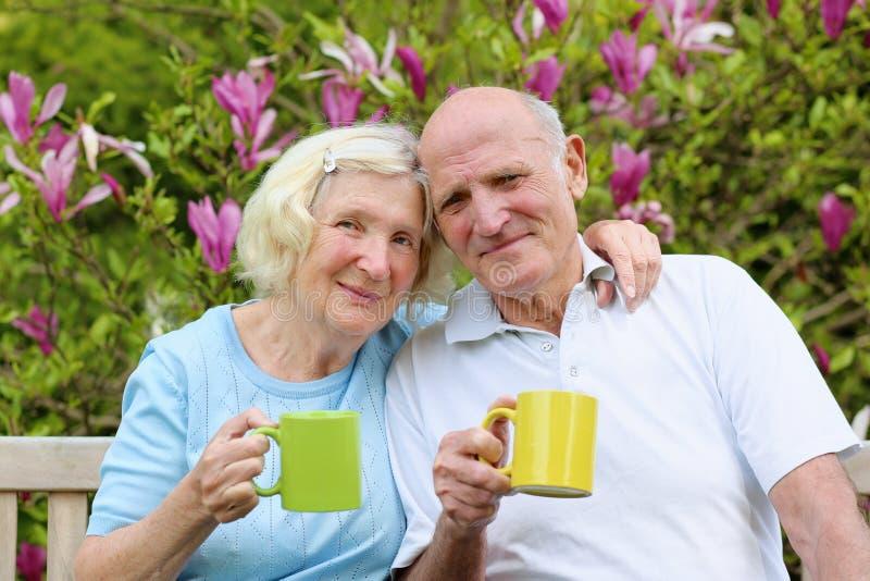 Αγάπη του ανώτερου τσαγιού κατανάλωσης ζευγών στον κήπο στοκ εικόνες με δικαίωμα ελεύθερης χρήσης