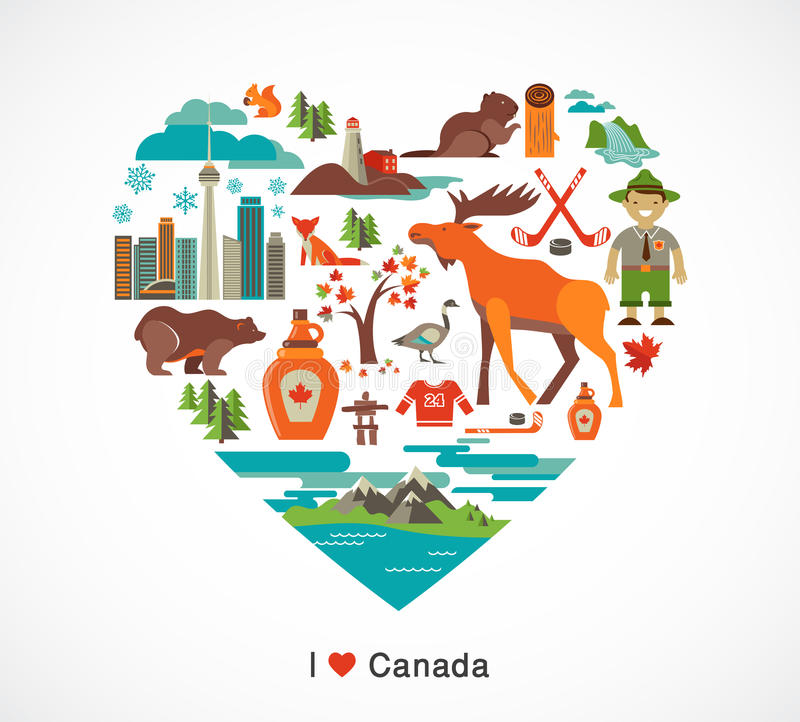 Αγάπη του Καναδά - καρδιά με τα εικονίδια και τα στοιχεία ελεύθερη απεικόνιση δικαιώματος