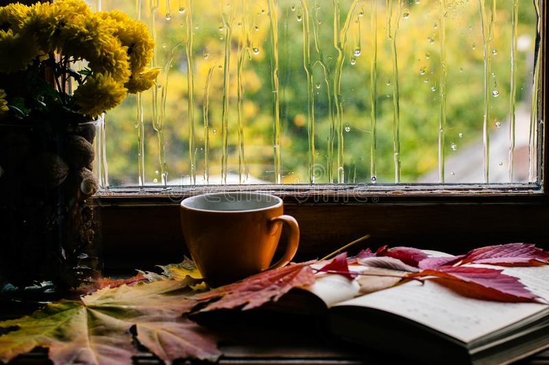 Αγάπη φθινοπώρου για τον καφέ και στα βιβλία στοκ φωτογραφία