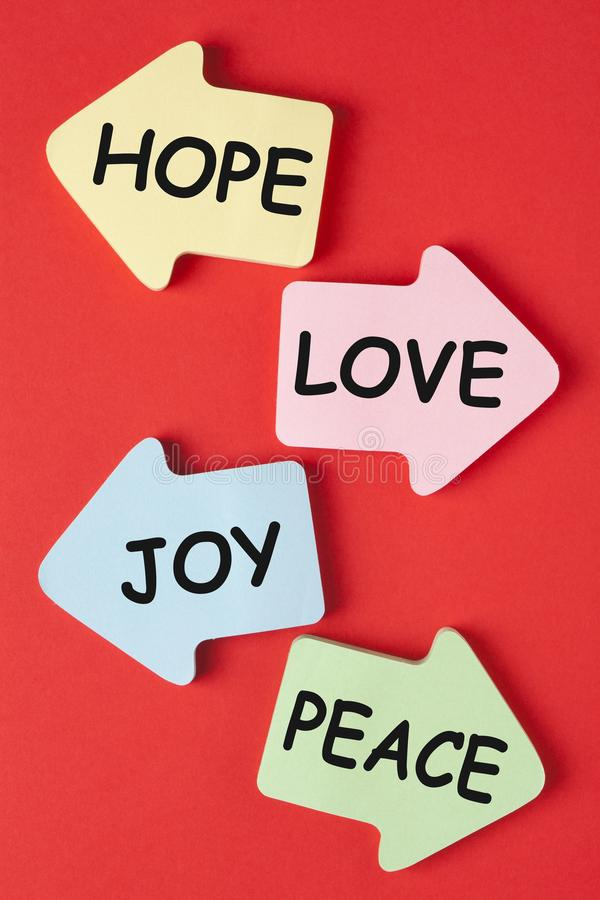 Αγάπη χαράς ειρήνης ελπίδας στοκ εικόνα με δικαίωμα ελεύθερης χρήσης