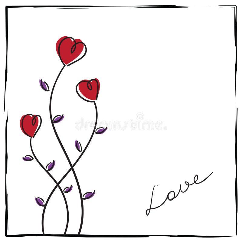 αγάπη χεριών καρτών doodle συρμένη ελεύθερη απεικόνιση δικαιώματος