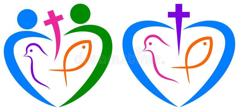 Αγάπη χριστιανισμού ειρηνική και σύμβολο ενότητας απεικόνιση αποθεμάτων