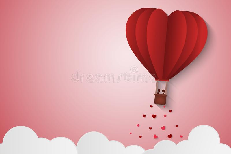 Αγάπη ύφους εγγράφου της ημέρας βαλεντίνων, μπαλόνι που πετά πέρα από το σύννεφο με το επιπλέον σώμα καρδιών στον ουρανό, μήνας τ διανυσματική απεικόνιση