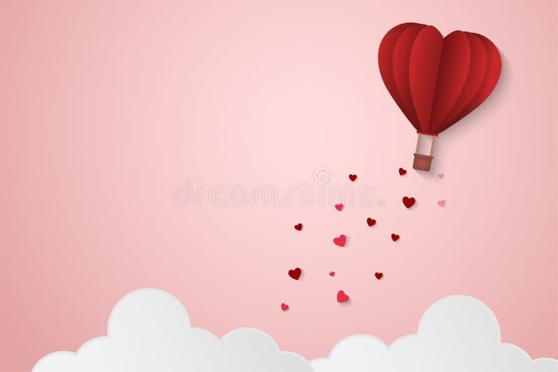 Αγάπη ύφους εγγράφου της ημέρας βαλεντίνων, μπαλόνι που πετά πέρα από το σύννεφο με το επιπλέον σώμα καρδιών στον ουρανό, μήνας τ ελεύθερη απεικόνιση δικαιώματος