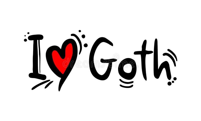 Αγάπη ύφους μουσικής Goth διανυσματική απεικόνιση
