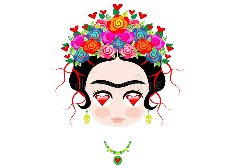 Αγάπη Frida Kahlo μωρών Emoji με την κορώνα και των ζωηρόχρωμων λουλουδιών, που απομονώνονται ελεύθερη απεικόνιση δικαιώματος