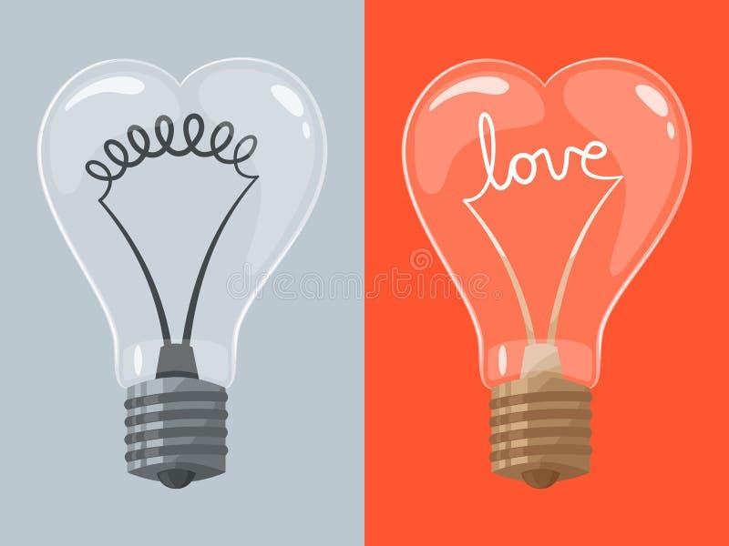 Αγάπη lightbulb στη μορφή της καρδιάς απεικόνιση αποθεμάτων