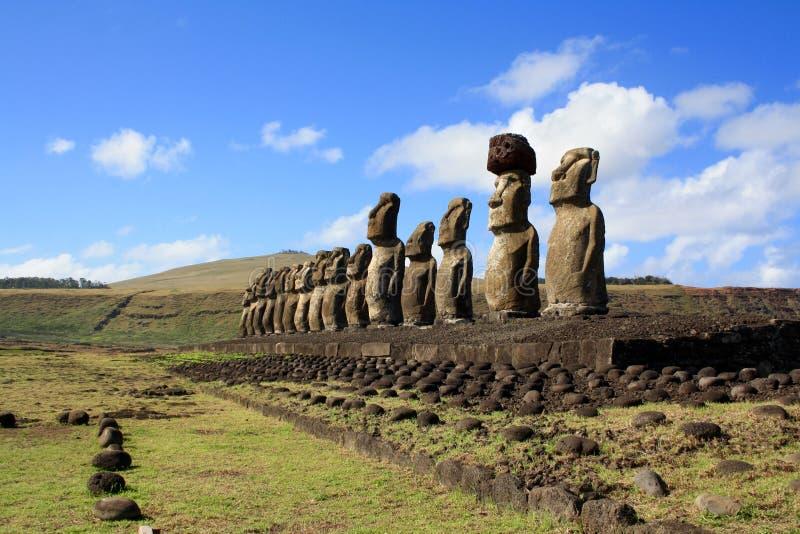 Αγάλματα Moai, νησί Πάσχας, Χιλή στοκ εικόνα με δικαίωμα ελεύθερης χρήσης