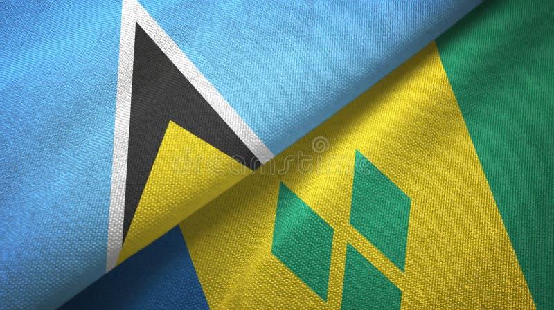 Αγία Λουκία και Άγιος Βικέντιος και Γρεναδίνες δύο υφαντικό ύφασμα σημαιών ελεύθερη απεικόνιση δικαιώματος