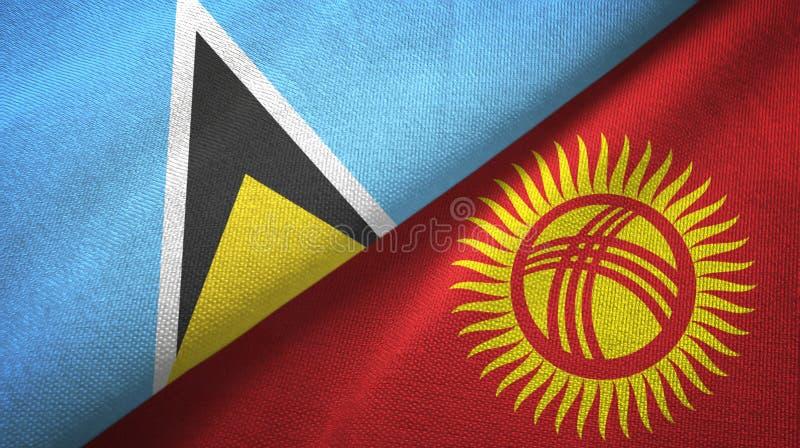 Αγία Λουκία και Κιργιστάν δύο υφαντικό ύφασμα σημαιών, σύσταση υφάσματος διανυσματική απεικόνιση
