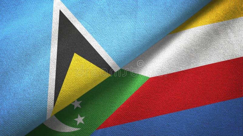 Αγία Λουκία και Κομόρες δύο υφαντικό ύφασμα σημαιών, σύσταση υφάσματος απεικόνιση αποθεμάτων