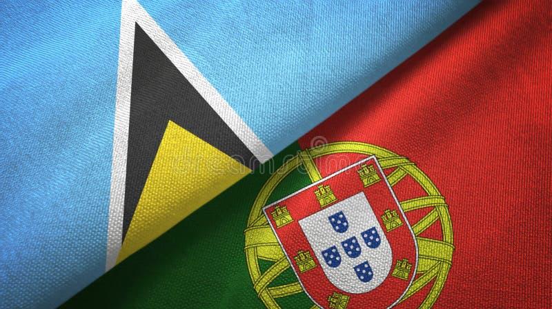 Αγία Λουκία και Πορτογαλία δύο υφαντικό ύφασμα σημαιών, σύσταση υφάσματος διανυσματική απεικόνιση