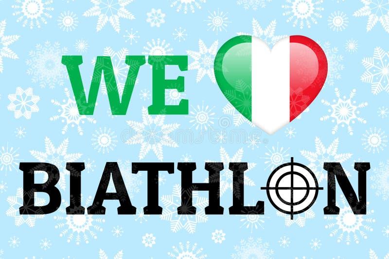 Αγαπάμε biathlon τη διανυσματική απεικόνιση Εθνική σημαία της Ιταλίας Σύμβολο καρδιών στα παραδοσιακά ιταλικά χρώματα Αφίσα για τ ελεύθερη απεικόνιση δικαιώματος