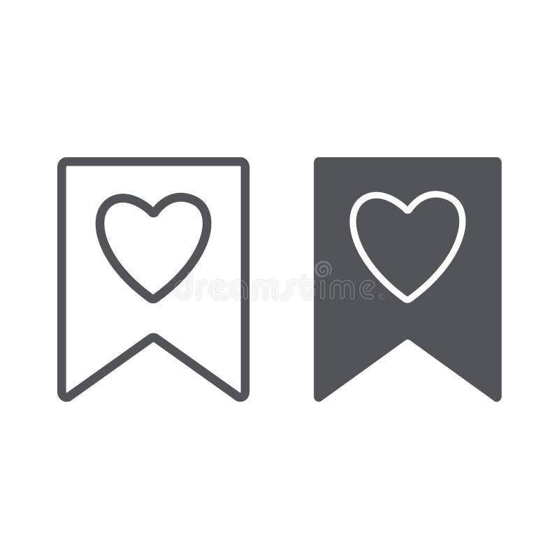 Αγαπημένα γραμμή και glyph εικονίδιο, σημάδι και αγαπημένος, σελιδοδείκτης με το σημάδι καρδιών, διανυσματική γραφική παράσταση,  ελεύθερη απεικόνιση δικαιώματος