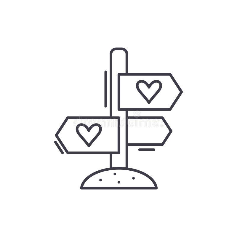 Αγαπημένη έννοια εικονιδίων γραμμών κατευθύνσεων Αγαπημένη διανυσματική γραμμική απεικόνιση κατευθύνσεων, σύμβολο, σημάδι διανυσματική απεικόνιση